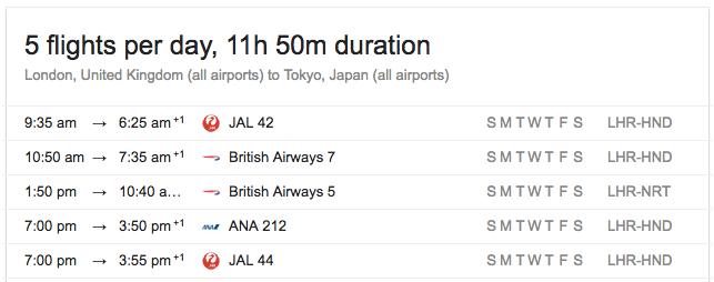 LHR-TYO 每日的航班