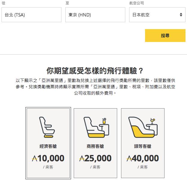 JAL | TSA-HND, 10,000 Asia Miles 單程