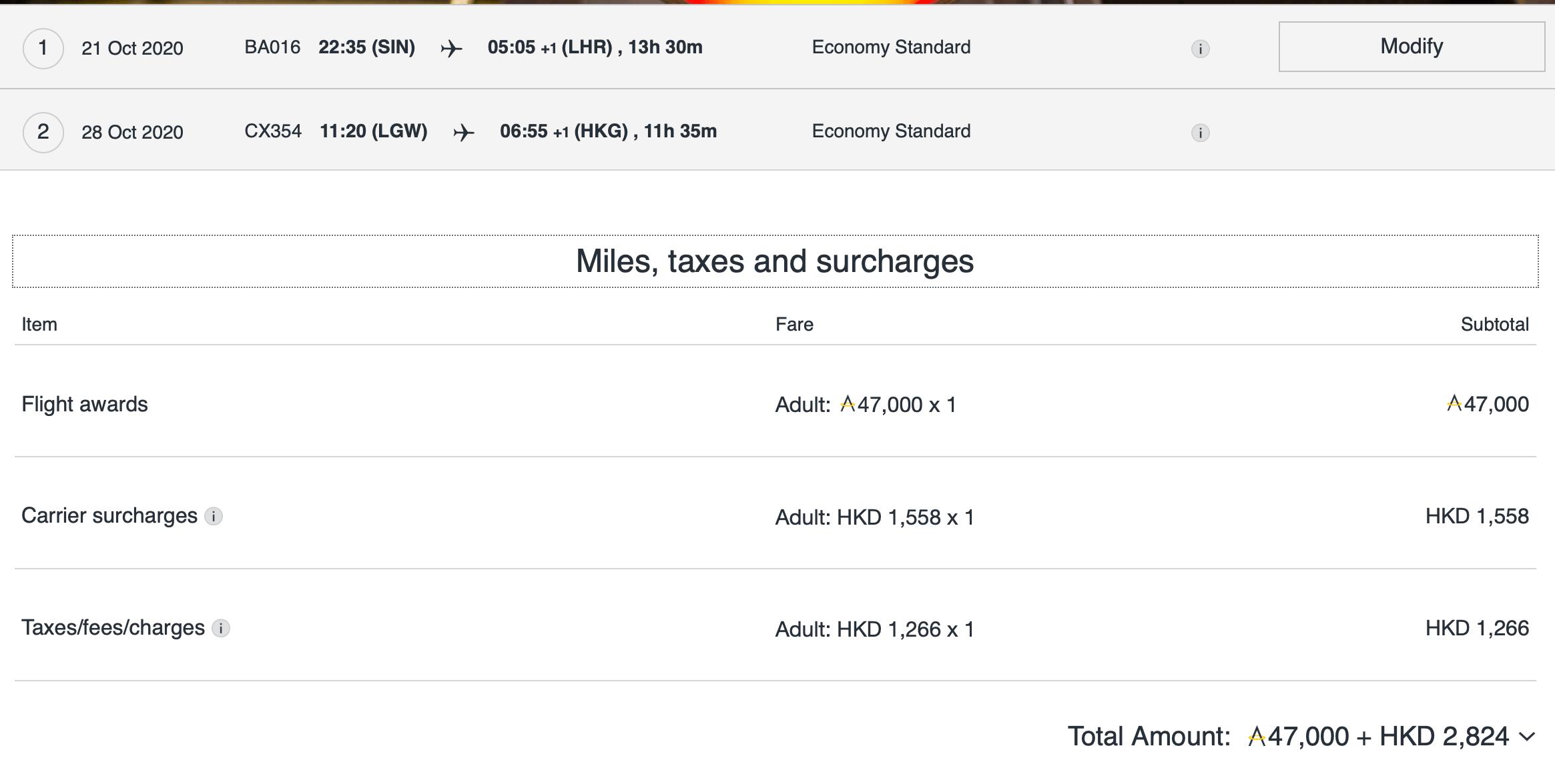 SIN-LHR & LGW-HKG, 47,000 Asia Miles + HK$2,824 Tax